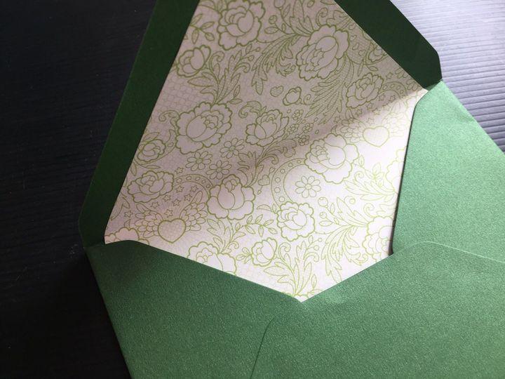 Custom printed envelope liner in botanic envelope