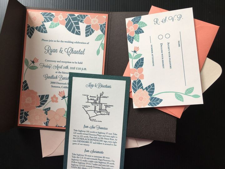 Invitation suite with RSVP, map and directions, and RSVP envelope