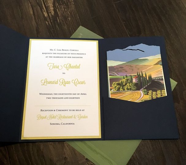Pocket invitation suite with custom laser inserts