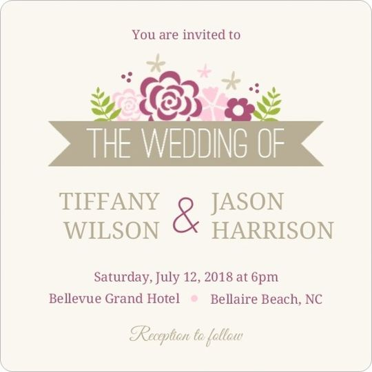 pink monogram flowers wedding invitation3606156960