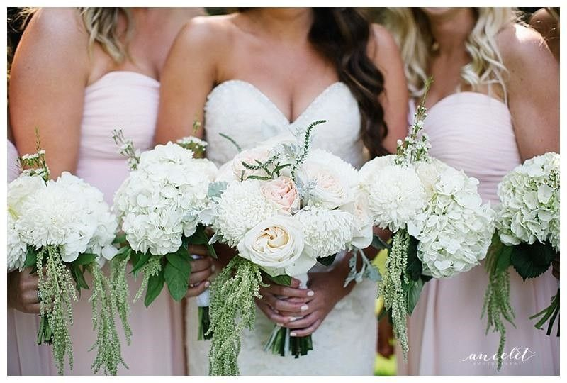Wedding party with bouquets