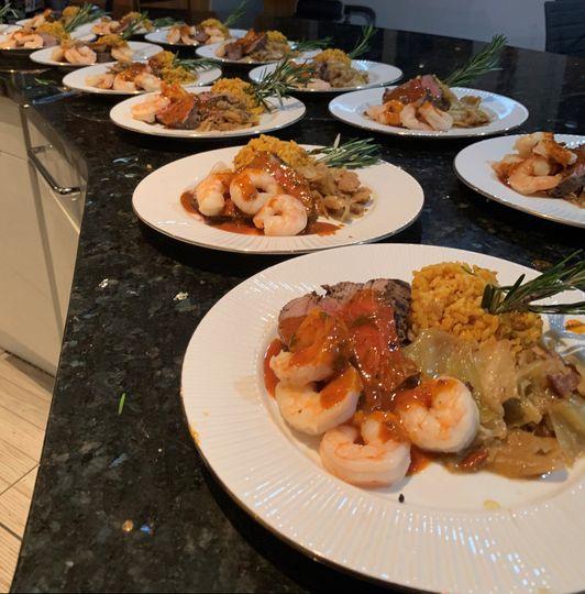 Cajun shrimp and filet mignon