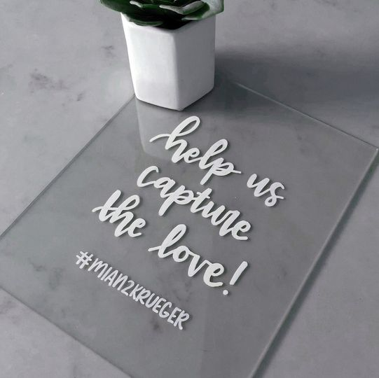 Acrylic sign for hashtags