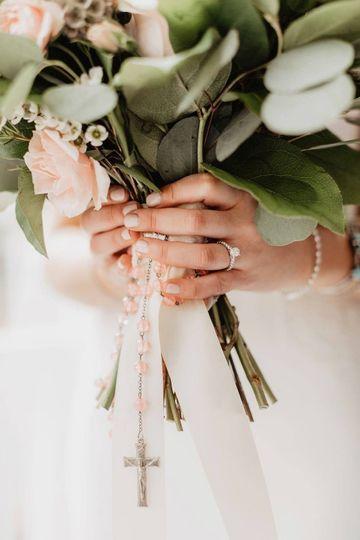 Holding an elegant bouquet