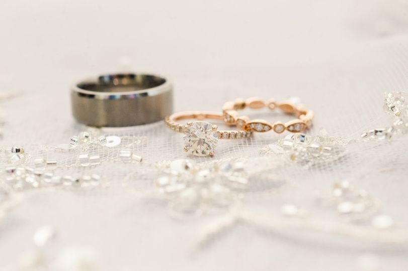 Dazzling wedding rings before the ceremony