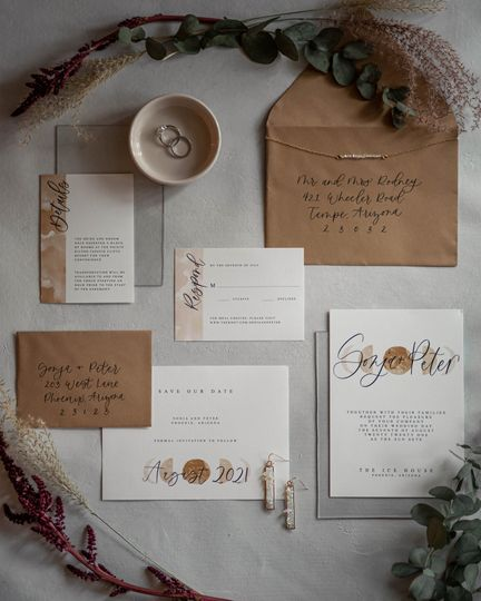 Invitation and jewelry details