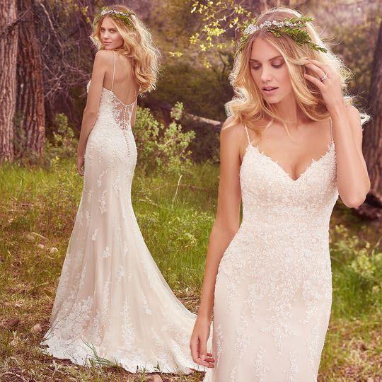 Plunging back line wedding dress