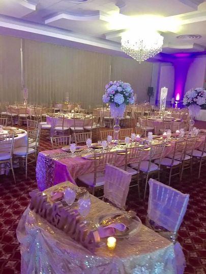 Reception with violet lights