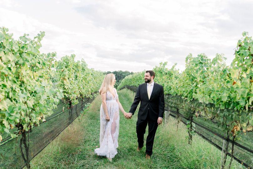 Vineyard bride and groom