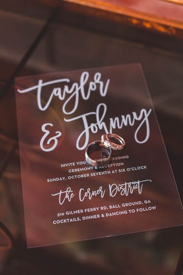 Invite and wedding rings