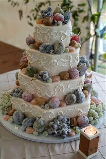 Crystalized edible fruits on a hexagonal shape cake