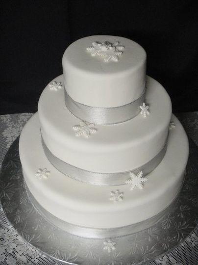 Winter wedding cake with Edible Sugar Snowflakes