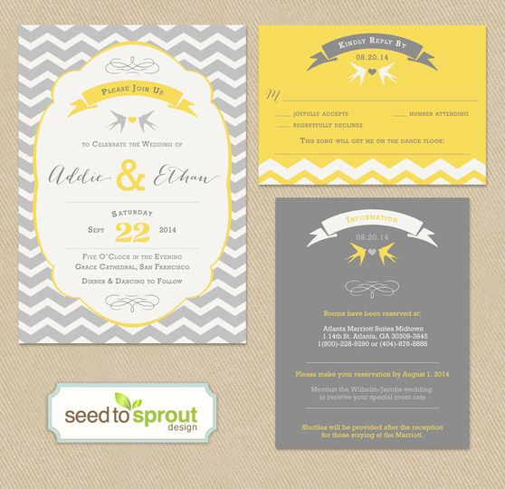 This printable wedding invitation set is modern and playful! Yellow and greys paired with chevron...