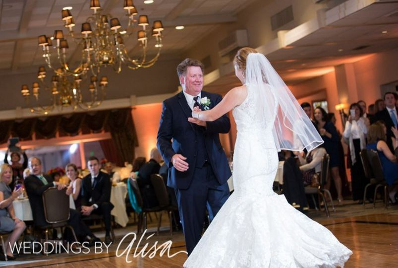 The bride and father dancing