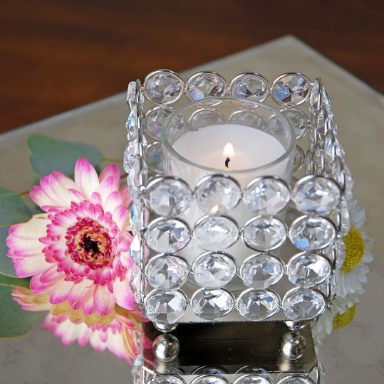 bling votive holders square