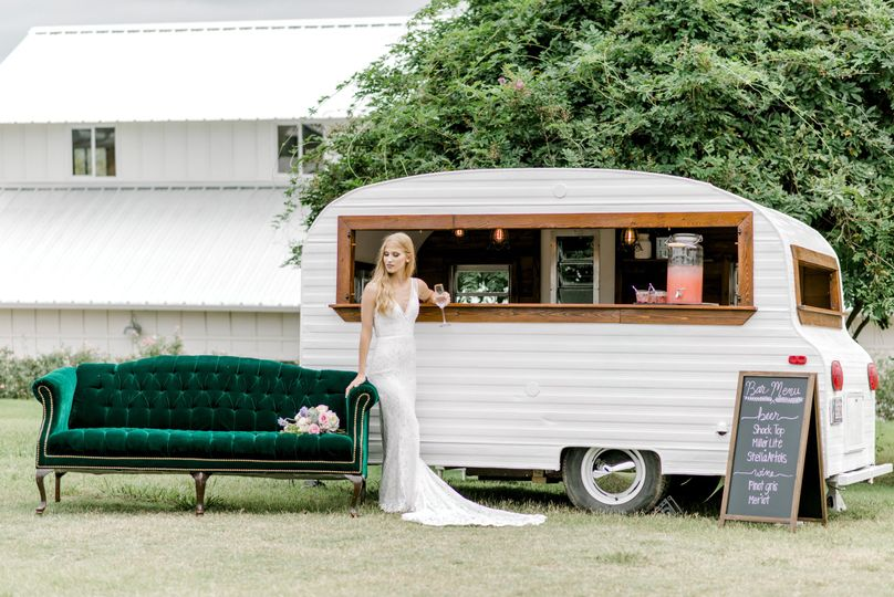 Bride by the caravan