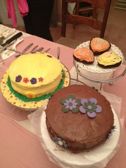 easter cakes on display