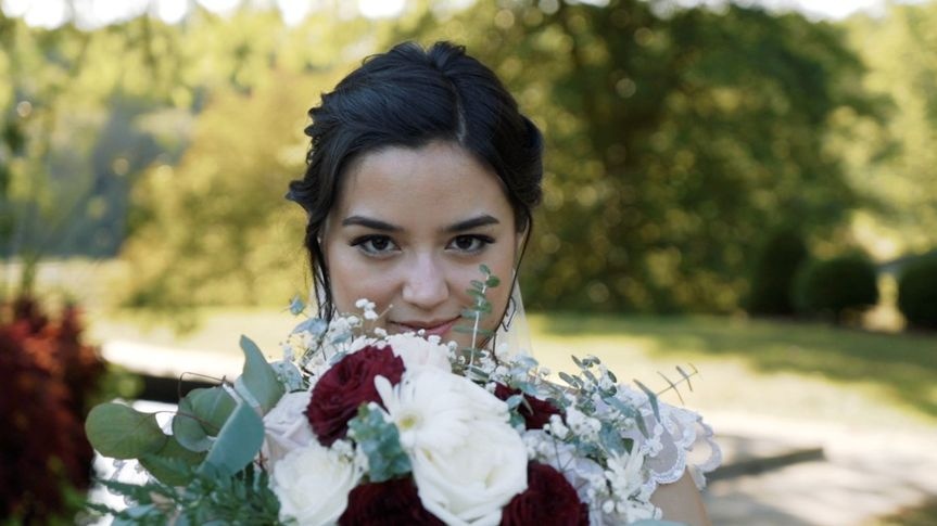 Smiling with the bouquet