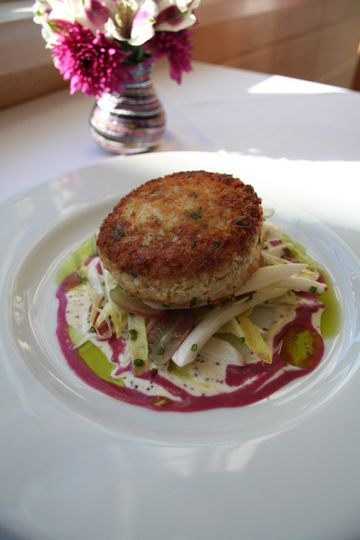 maine crabcake with wine grapes and endive michaels on the hill