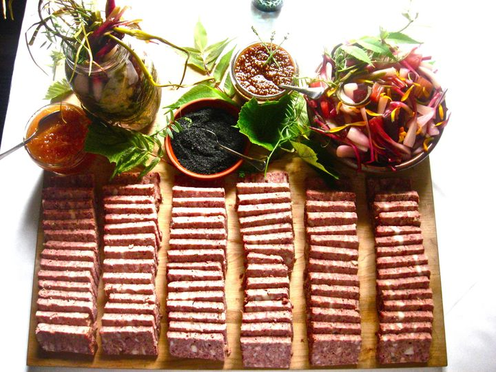 country pate platter with house pickled vegetables img92992