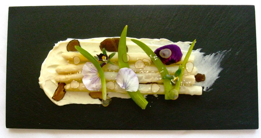 fried white asparagus w truffle mascarpone pickled day lilies 2011