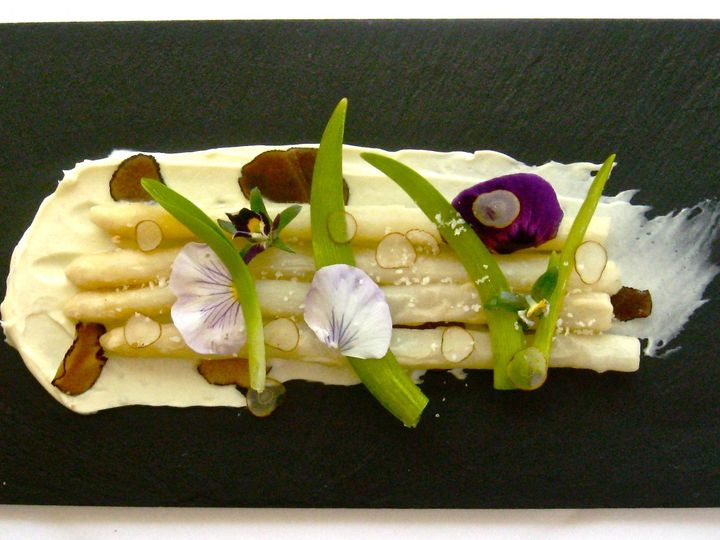 Tmx 1368639440656 Fried White Asparagus W Truffle Mascarpone  Pickled Day Lilies 2011 Waterbury Center wedding catering