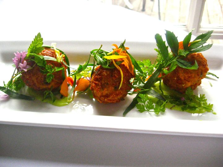 Tmx 1368640820259 Vermont Ayr Fritters With Garlic Scape Aioli And Herb Salad Img9288 Waterbury Center wedding catering