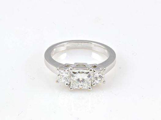 princess cut three stone ring