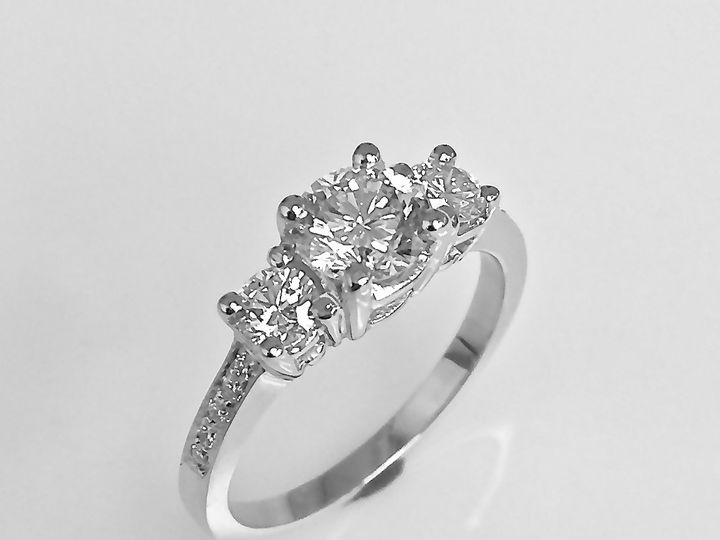 Tmx 1446669100059 Caseys Three Stone Engagement Ring Square Boston wedding jewelry