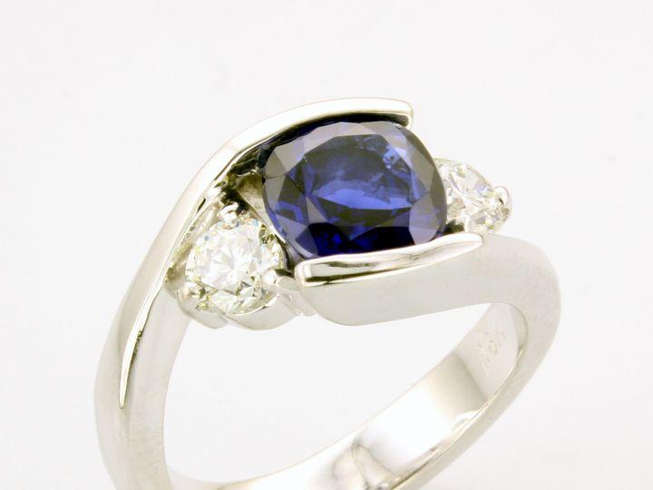 Tmx 1446669291991 Sapphire Diamond Engagment Ring With Side Diamonds Boston wedding jewelry