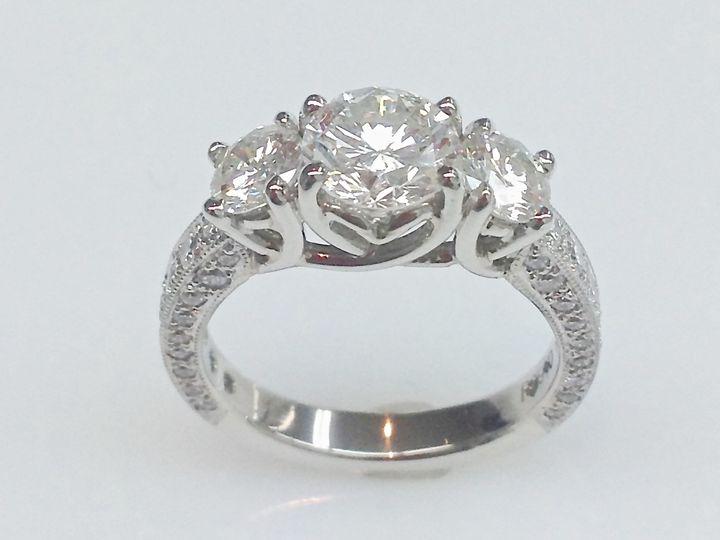 Tmx 1446673869715 Three Stone Diamond Ring With Detail Boston wedding jewelry