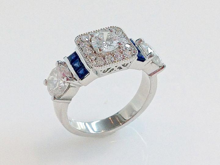 Tmx 1446673882506 Unique Halo Diamond Ring With Sapphires Boston wedding jewelry