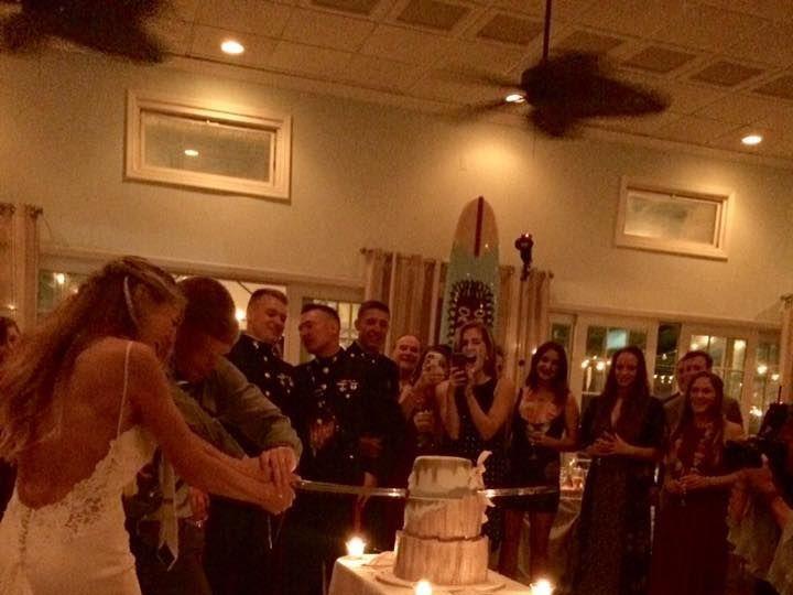 Tmx 1515353138 C796dd2c72ba94ea 1515353137 Fcef2d22d33fcf5e 1515353136800 1 Cake And Sword Mastic Beach wedding band