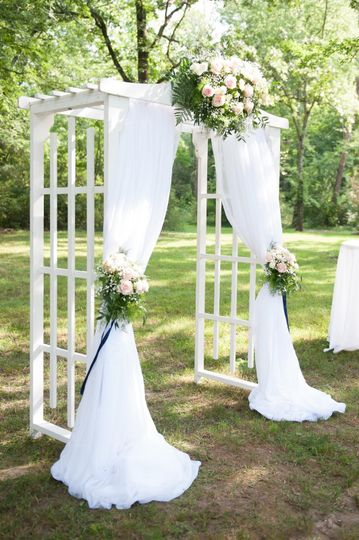White arch w/ draping