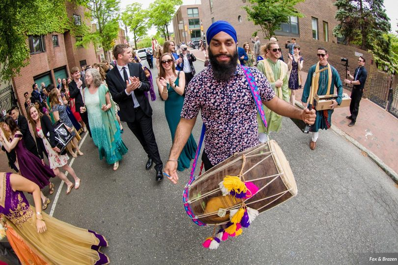 Dhol Player and outdoor baraat