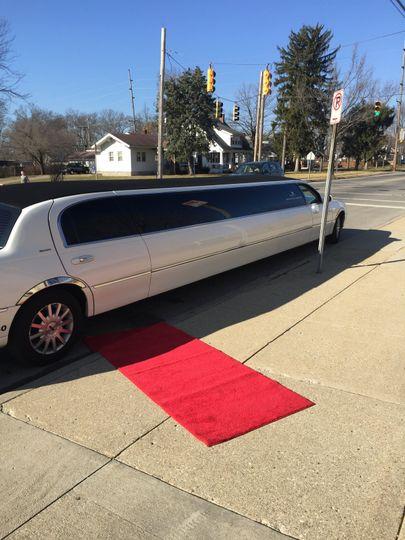 Silver super stretch and red carpet