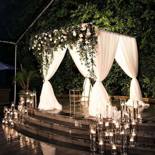 Night time chuppah draping