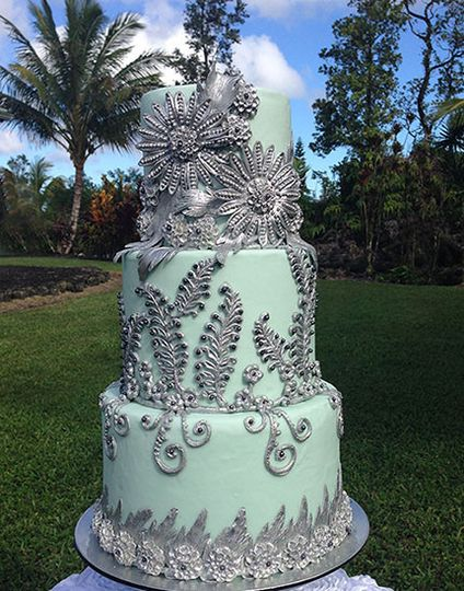 wedding cake silver and blue big island wedding cake wedding cake leilani estates 24547