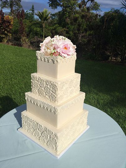 800x800 1425385311850 romantic lace wedding cake off wite