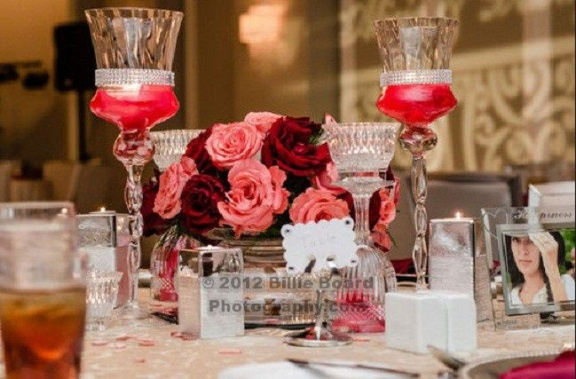 Guava Rose and Black Magic Rose Centerpiece with Candlelite