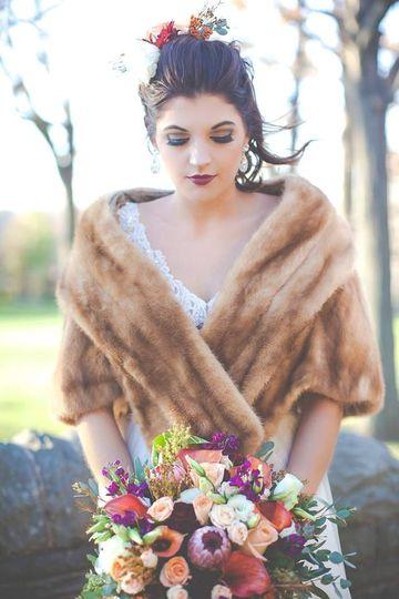Bride in a coat