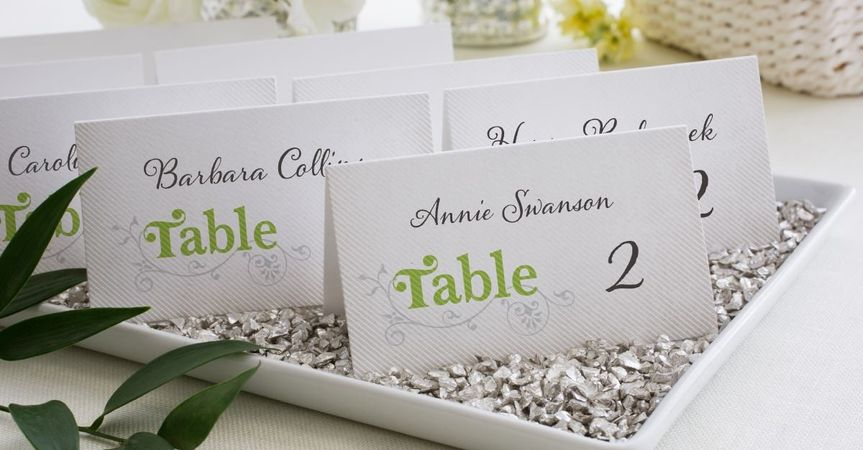 Flourish Title Place Card in Meadow Designed by: Lady Jae for Wedding Paper Divas