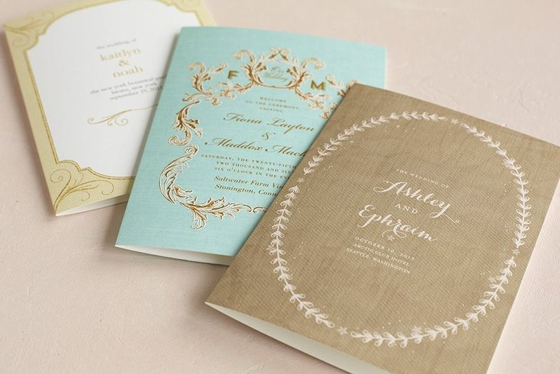 Golden Forever Wedding Program in Eggshell Designed by: Magnolia Press  Regally Adorned Wedding...