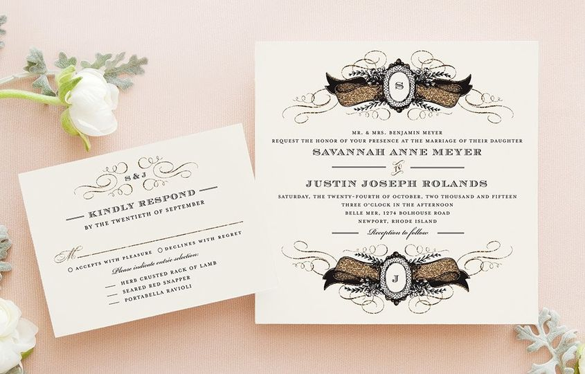 Cameo Crush Wedding Invitation in Pearl Shown with Response Card Designed by: Elk Design for Wedding...