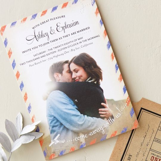 Away We Go Wedding Invitation in Tomato Designed by: Petite Alma for Wedding Paper Divas