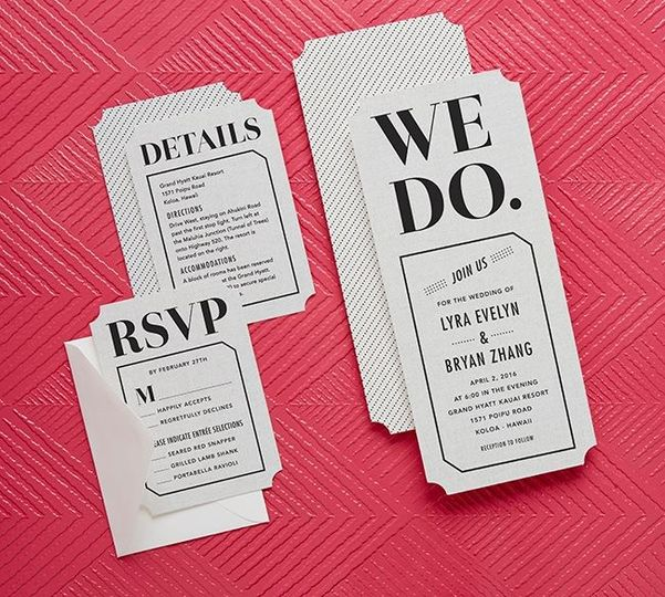 We Do Wed Wedding Invitation in Black Shown with Response and Enclosure Card Designed by: Chewing...