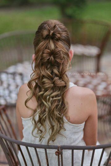 Half-up-Half-down w/hair bows