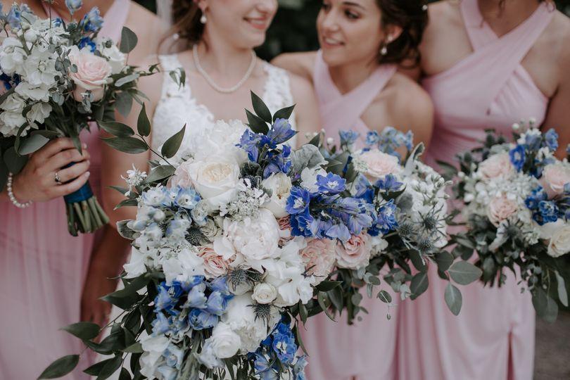 Blush White and Blue Flower