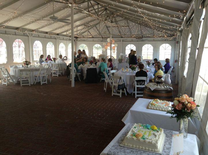 Outdoor wedding reception area