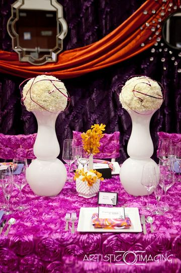 Contemporary Wedding with radiant orchid, hot pink, and plum accents.